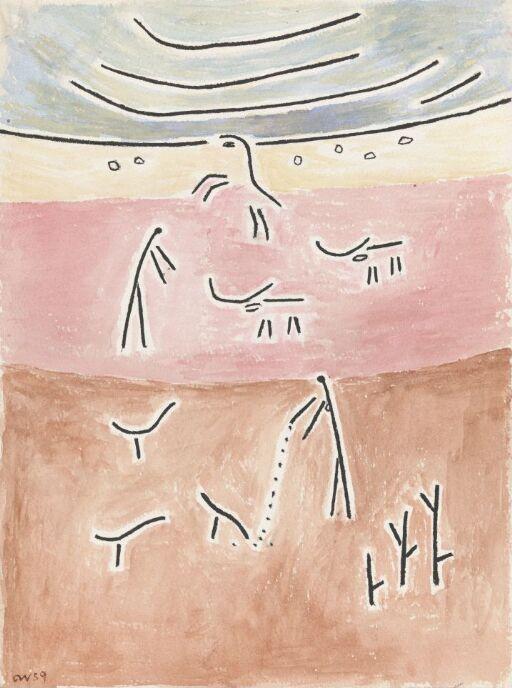 Abstrahert komposisjon med mennesker og dyr